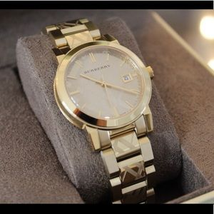 Burberry checkered gold watch